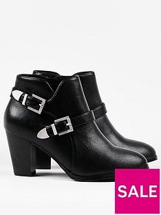 wallis-double-buckle-ankle-boots-black