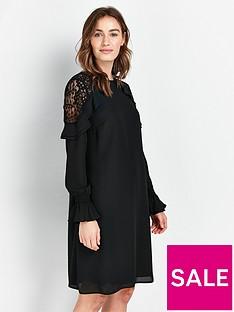 wallis-lace-insert-ruffle-dress-black