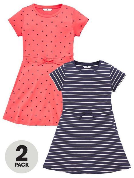 v-by-very-girls-2-pack-stripe-and-spot-jersey-drawstring-dresses-multi