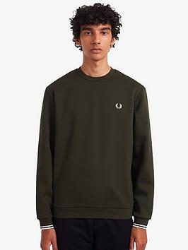 fred-perry-crew-neck-sweatshirt-with-arch-branded-logo-dark-green