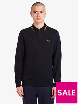 fred-perry-fred-perry-fleeceback-long-sleeve-polo-shirt