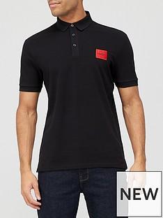hugo-dereso-212-red-patch-logo-polo-shirt-black