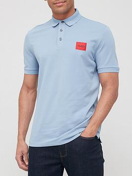 Hugo Dereso 212 Red Patch Logo Polo Shirt - Medium Blue