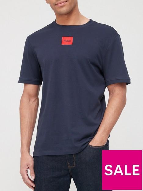 hugo-diragolino-red-patch-logo-t-shirt-dark-blue
