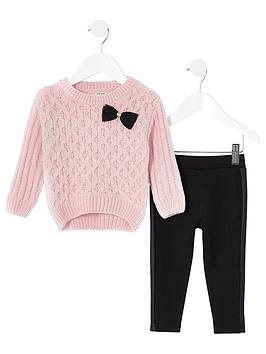 river-island-mini-chenille-jumper-amp-legging-setnbsp--pinkblack