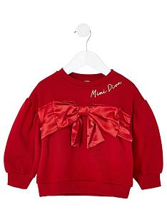 river-island-mini-girls-bow-puff-sleeve-sweat-red