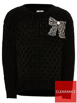 river-island-girls-chenille-knitted-bow-jumper-black