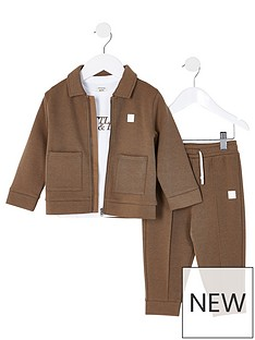 river-island-mini-mini-boys-3-piece-jogpants-tshirt-and-jacket-set-khaki