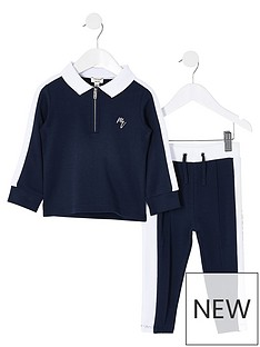 river-island-mini-boys-long-sleeve-polo-amp-jog-set-navy