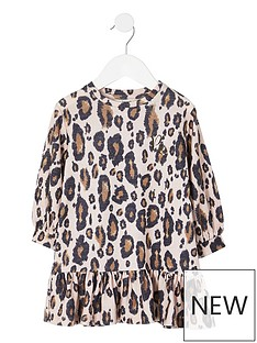 river-island-mini-girls-leopard-printnbspdrop-hem-dress-brown