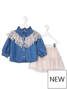 river-island-mini-mini-girls-frill-denim-shirt-and-skirt-set-denim