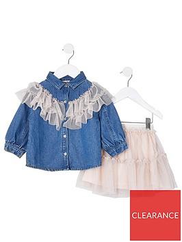 river-island-mini-mini-girls-frill-denim-shirt-and-skirt-setnbsp-nbspdenim