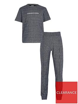 river-island-boys-check-t-shirt-and-jog-set-blue