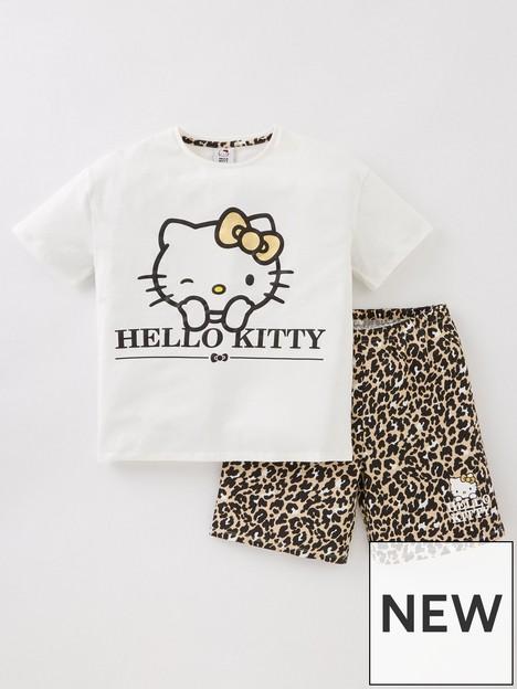 hello-kitty-girlsnbspleopard-print-shorty-pjs-cream