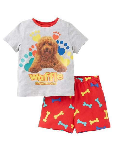 waffle-the-wonder-dog-unisexnbsppaw-print-shorty-pjs-grey