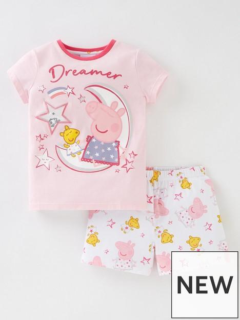 peppa-pig-girls-peppa-pig-sequin-star-shorty-pjs-pink