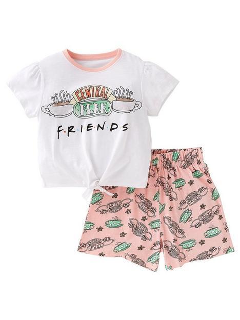 friends-girlsnbspcentral-perk-shorty-pyjamas-white