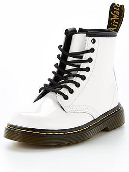 Dr Martens 1460 Patent 8 Lace Boots - White, White, Size 6 Younger