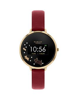 radley-series-3-smart-watch-with-gold-dog-print-screen-and-dark-red-strap-ladies-watch