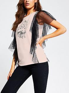 river-island-dobby-mesh-frill-rock-t-shirt-pink