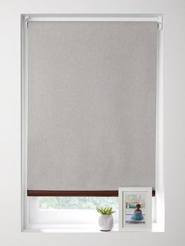 Product photograph showing Linen Roller Blind With Leather Trim 120x160