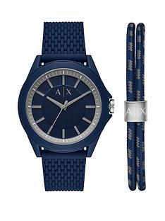 armani-exchange-armani-exchange-blue-dial-blue-silicone-strap-mens-watch-and-matching-wristwear-gift-set