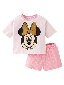 minnie-mouse-girls-disney-minnie-mouse-glitter-bow-shorty-pjs-pink