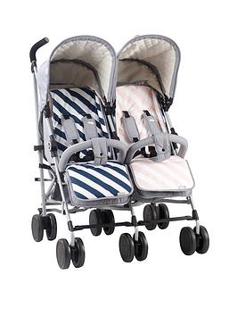 My Babiie Samantha Faiers Mb22 Grey Melange Double Stroller With Reversible Seat Liners