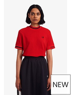 fred-perry-high-neck-t-shirt-red