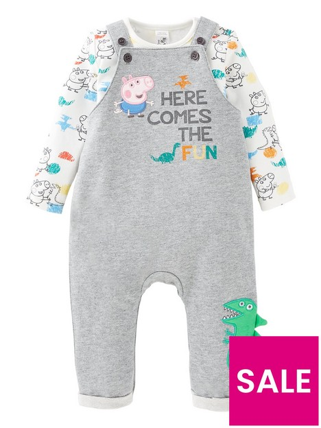 peppa-pig-baby-boys-george-pig-2-piece-here-comes-fun-dungaree-set-with-dino-details-grey