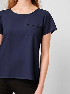 french-connection-classic-crepe-pocket-tee-navy
