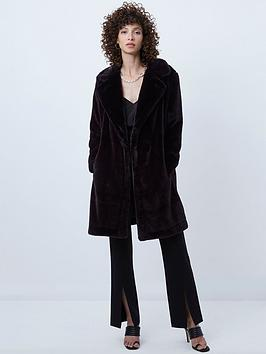 french-connection-banna-faux-fur-long-coat-black