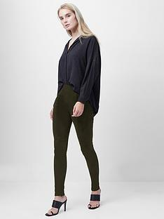 french-connection-mavita-faux-suedette-jersey-skinny-trousers-green