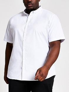 river-island-big-amp-tallnbspshort-sleeve-oxford-shirt-white