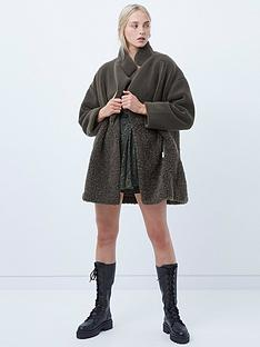 french-connection-irenea-faux-fur-zip-through-coat-khaki