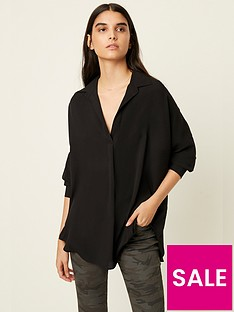 french-connection-rhodes-crepe-pop-over-shirt--black