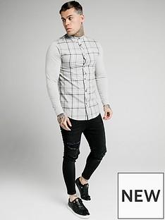 sik-silk-long-sleeve-flannel-check-grandad-shirt-grey-marl