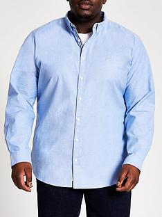 river-island-big-and-tallnbsplong-sleeve-oxford-shirt-bluenbsp