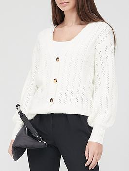 V By Very Stitch Detail Button Up Knitted Cardigan - Ivory