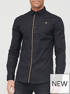 sik-silk-long-sleeve-gold-piping-shirt-black