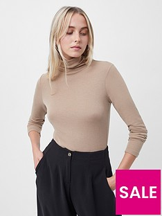french-connection-mena-wool-ribbed-jersey-high-neck-top-brown