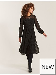 fatface-monica-spot-mesh-dress-black