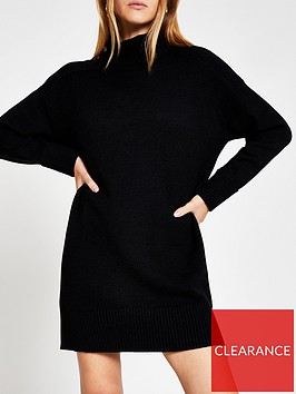 river-island-cosy-roll-neck-knitted-jumper-dress-black