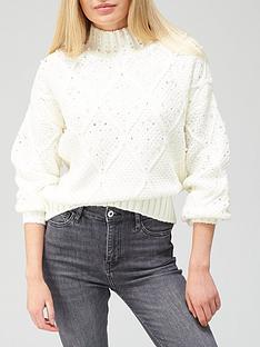 river-island-premium-embellished-knitted-jumper-cream