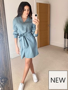 michelle-keegan-utility-waisted-shirt-dress-blue