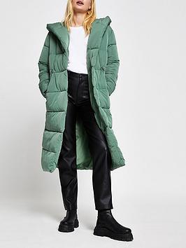 River Island Longline Shawl Collar Padded Coat - Sage, Sage, Size 12, Women