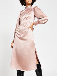 river-island-satin-high-neck-midi-dress-mink