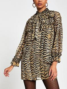 river-island-animal-print-ruffle-neck-shift-dress-brown