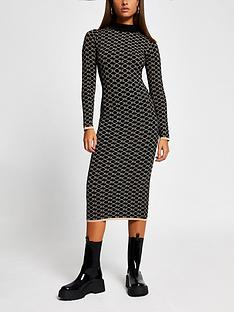 river-island-monogram-knitted-bodycon-dress-black