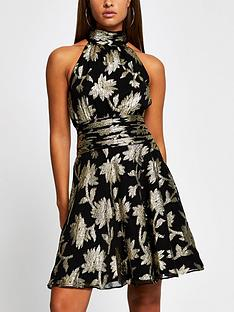 river-island-gold-foil-print-ruched-waist-mini-dress-black